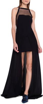 Akris Asymmetric Illusion Halter Gown