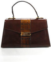 Cole Haan Brown Leather Push Lock Closure One Strap Mini Tote Handbag