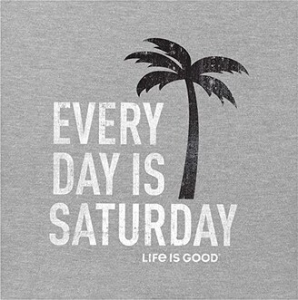 Life is Good Every Day is Saturday Crusher Tee (Heather Gray) Men's Clothing