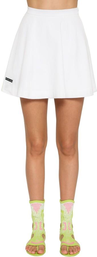 High Waist Cotton Jersey Mini Skirt