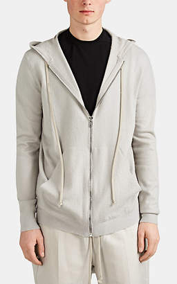 Rick Owens Men's Boiled Cashmere Zip-Front Hoodie - Gray