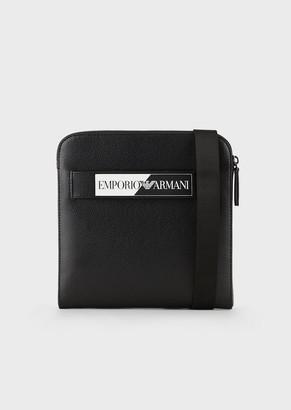 Emporio Armani Bonded-Leather Flat Shoulder Bag With Contrasting Logo