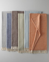 Sferra Brushed Cotton Herringbone-Weave Throw
