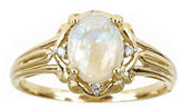 JCPenney FINE JEWELRY LIMITED QUANTITIES 10K Yellow Gold Oval Genuine Australian Opal and Diamond-Accent Ring