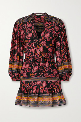 Alice + Olivia Sedona Tiered Floral-print Cotton And Silk-blend Mini Dress - Burgundy