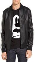 Black Rivet Men's Faux Leather Bomber Jacket