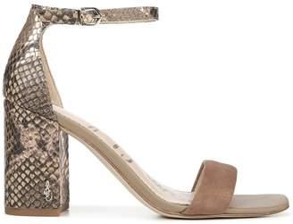 Sam Edelman Daniella Ankle-Strap Snakeskin-Embossed Leather & Suede Sandals