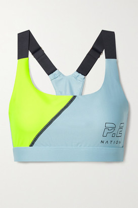 P.E Nation Twist Serve Printed Color-block Stretch Sports Bra