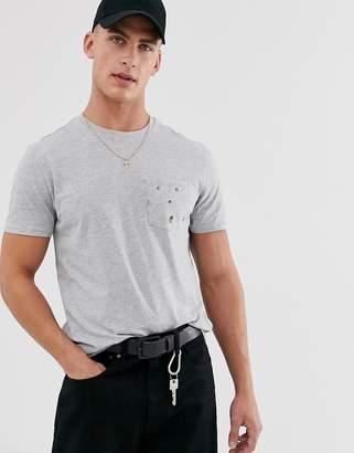 Threadbare tropical pocket t-shirt in grey