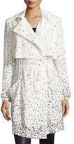 Haute Hippie Drawstring-Waist Embellished Trench Coat, Swan/Black