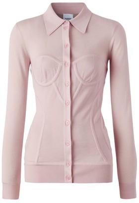 Burberry Corset Detail Cashmere-Silk Cardigan