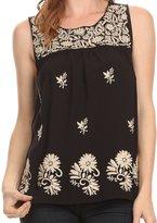 Sakkas 812 - Devika Sleeveless Tank Top Batik Blouse With Embroidery - XL