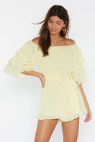 Womens Move in For the Frill Off-the-Shoulder Playsuit - yellow - L