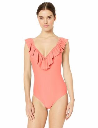 Jessica Simpson Women's One-Piece Ruffle Shoulder Swimsuit