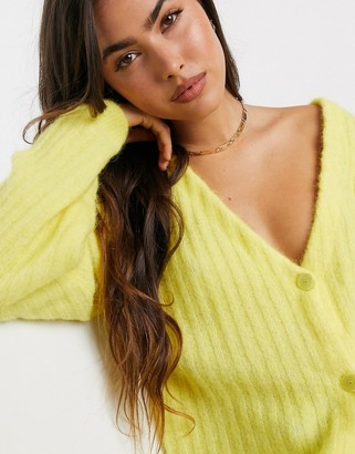 Gestuz Alpia button front cardigan in lime
