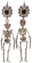 Alexander McQueen Silver Queen & King Skeleton Earrings