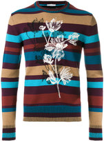 Paolo Pecora floral striped crew neck sweater