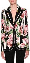 Dolce & Gabbana Single-Breasted Stripes & Rose-Print Cady Blazer