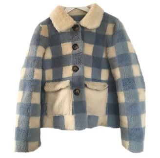 Saks Potts Blue Shearling Coat for Women