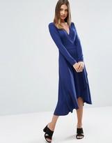 Asos Midi Wrap Tea Dress With Long Sleeves