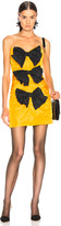 Carmen March CARMEN MARCH Strapless Ribbon Dress in Yellow & Black | FWRD