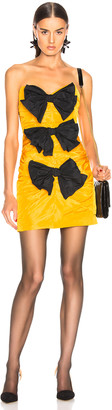 CARMEN MARCH Strapless Ribbon Dress in Yellow & Black | FWRD