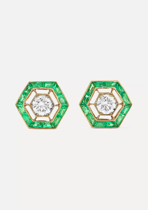 Fred Leighton Collection 18-karat Gold, Emerald And Diamond Earrings - White gold