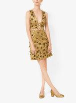 Michael Kors Floral Metallic-Embroidered Brocade Dress