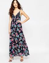Iska Floral Print Maxi Dress with Ruffle Trim