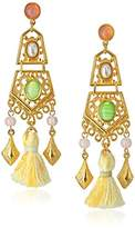 Ben-Amun Jewelry Gold Link Earrings with Tassel and Stones Drop Earrings
