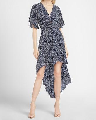 Express Printed Flutter Sleeve Hi-Lo Maxi Dress