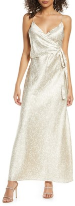 WAYF The Cooper Shadow Print Satin Faux Wrap Gown