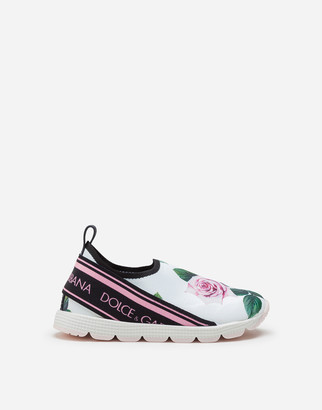 Dolce & Gabbana Slip On Sorrento Sneakers With Tropical Rose Print