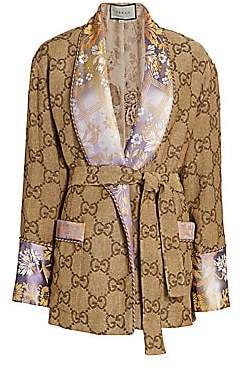 Gucci Women's GG Jacquard Linen Oversized Robe Jacket