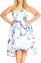 City Chic 'Perfect Peony' Strapless High/Low Fit & Flare Dress (Plus Size)