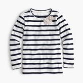 J.Crew Girls' striped embellished metallic flower T-shirt