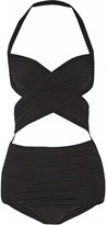 Norma Kamali Xo Bill Mio Cutout Halterneck Swimsuit - Black