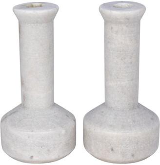 Noir Milos Set Of 2 Decorative Candle Holders