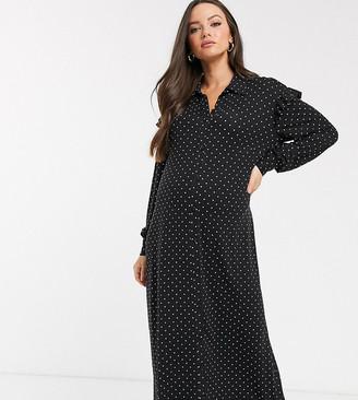 Asos DESIGN Maternity long sleeve mono spot shirt maxi dress