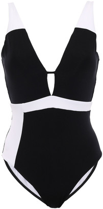 Jets Classique Plunge Two-tone Swimsuit
