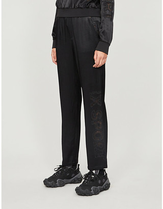 The Kooples Sport Lace-detail stretch-jersey jogging bottoms