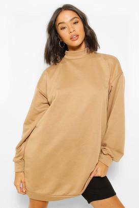 boohoo High Neck Oversized Sweatshirt Dress