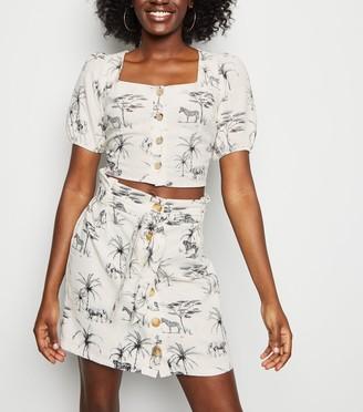 New Look Palm Animal Print Linen Blend Mini Skirt