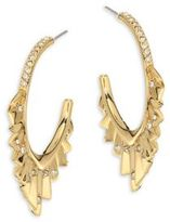 Alexis Bittar Elements Crystal-Encrusted Pleated Hoop Earrings/1.75