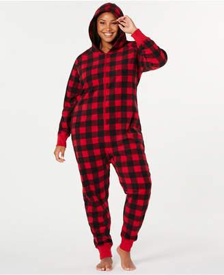 Matching Family Pajamas Plus Size Buffalo-Check Hooded Pajamas
