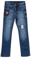 Ikks Blue Mid Wash Jeans with Badge Applique
