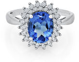 FINE JEWELRY Genuine Blue Topaz and Lab-Created White Sapphire Sterling Silver Ring
