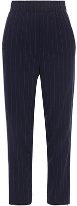 Ganni Cropped Pinstriped Crepe Tapered Pants