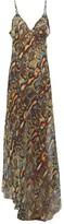 Raey Dip-hem Snake-print Sheer Silk Slip Dress - Womens - Multi