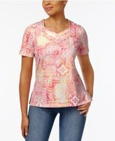 Alfred Dunner Watercolor-Print Embellished Top
